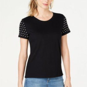 Inc Heritage Casual Faux-Pearl-Sleeve T-Shirt